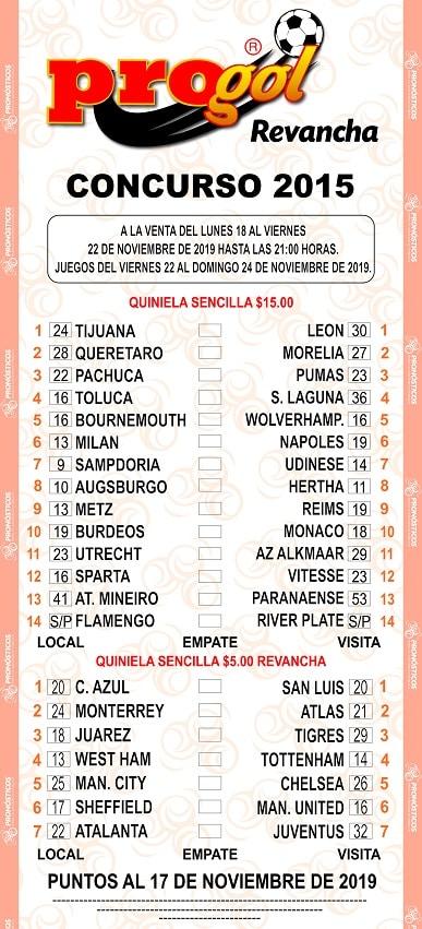 quiniela progol 2015