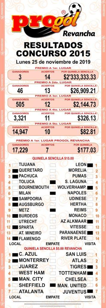 resultados quiniela progol 2015